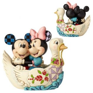 Jim Shore Disney Traditions Mickey and Minnie Mouse in Swan Statue