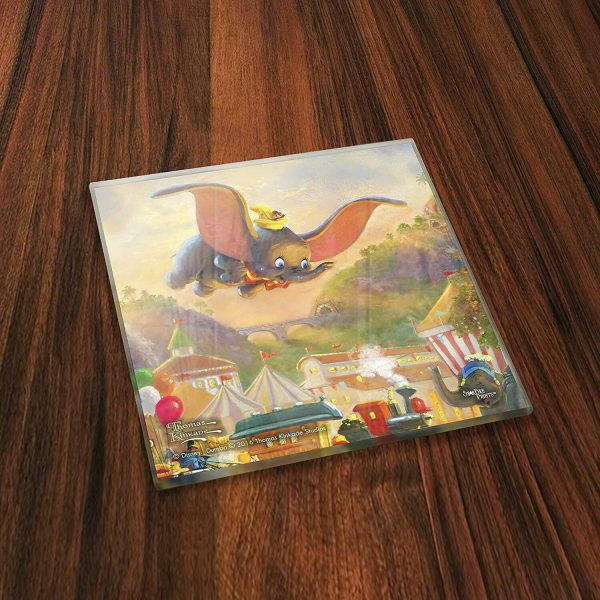 Thomas Kinkade StarFire Prints Glass Coaster Set - Dumbo