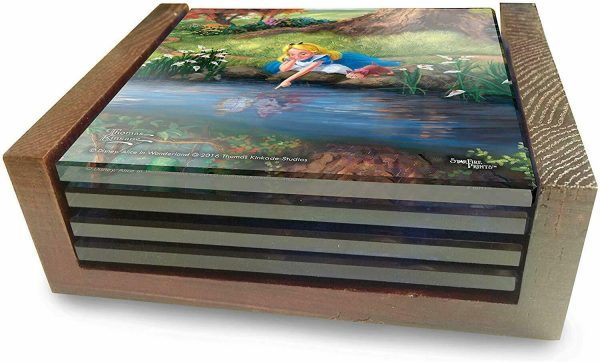 Thomas Kinkade StarFire Prints Glass Coaster Set - Alice in Wonderland