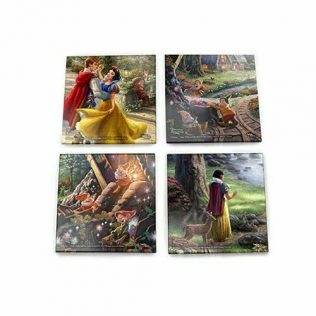 Thomas Kinkade StarFire Prints Glass Coaster Set – Disney Snow White