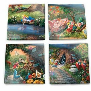 Thomas Kinkade StarFire Prints Glass Coaster Set – Alice in Wonderland