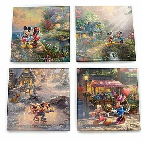 Thomas Kinkade StarFire Prints Glass Coaster Set - Mickey Mouse and Minnie Mouse