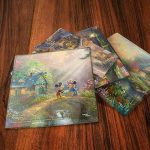 Thomas Kinkade StarFire Prints Glass Coaster Set – Mickey Mouse and Minnie Mouse