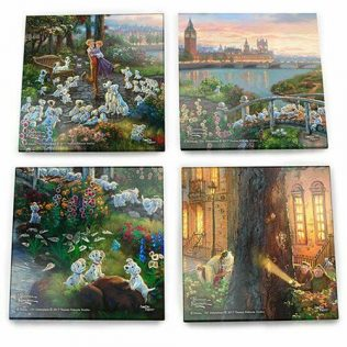 Thomas Kinkade StarFire Prints Glass Coaster Set – 101 dalmations