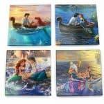 Thomas Kinkade StarFire Prints Glass Coaster Set – Disney The little mermaid