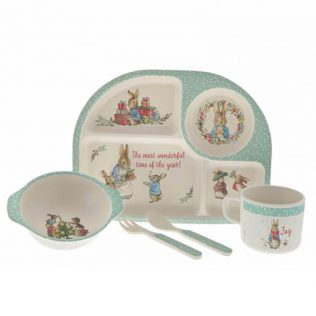 DINNER SET: CHRISTMAS PETER RABBIT BAMBOO