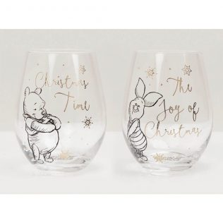 Disney Christmas Collectable Wine Glass Set Pooh & Piglet