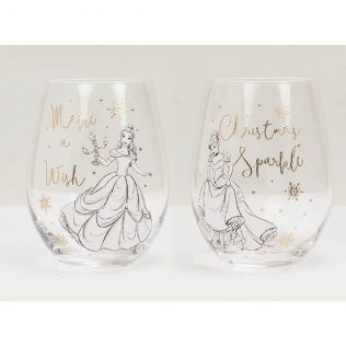 Disney Christmas Collectable Glasses Set of 2: Belle and Cinderella