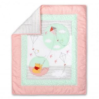Disney Baby Pooh Fly a Kite Pink Quilt