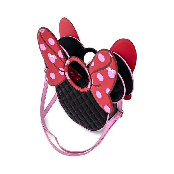 Loungefly Disney Mickey Mouse Minnie Quilted Bow Head Crossbody